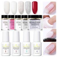 9Pcs BORN PRETTY Nail Dip Dipping Powder Liquid Clear Pink Polish Starter Kit