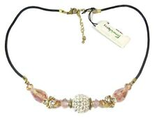 Park Lane Crystal Ball & Pink Faceted Crystal Leather Necklace (19)