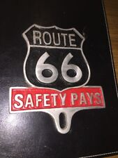 "Route 66 "" SAFETY PAYS "" Antique Style Car Auto License Plate FOB Harley Davidso"