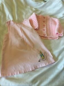 Next Baby Dress 3/6mths + Newborn Dress + Cardigan.pink With Sparkle Thread