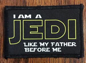 Star Wars I Am A Jedi Morale Tactical ARMY Hook Military Flag USA Jedi Master