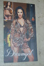 Womens Lingerie SHEER BROWN LEOPARD ROBE Lace Bra THONG PANTY Dreamgirl XL 16-18