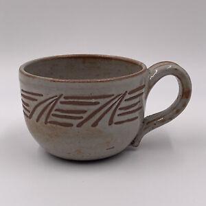 Handmade Pottery Mug Carved Design Glazed Coffee Tea
