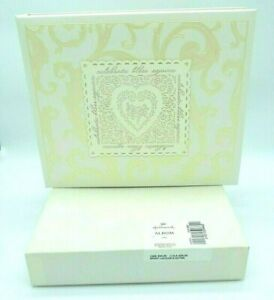 Hallmark Wedding Guest Signature Book Ivory Lace Heart Scroll Binder 864 Entries