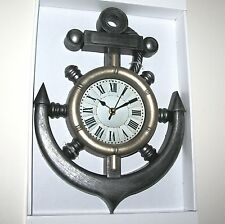 Wall Clock - Ship Wheel & Anchor Design Contemporary Nautical - 38cm High *NEW*