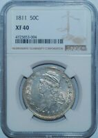 "1811 NGC XF40 Small 8 O-108 R.2 ""Frowny Face"" Capped Bust Half Dollar"