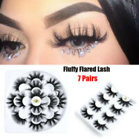 7 Pairs 25mm 6D Mink Hair False Long Thick Eyelashes Wispy Fluffy Lashes Set UK