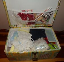 vintage Sewing Box/Suitcase with Needles Thread Lace E Z Stitcher Ribbon-Notions