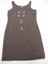 SUZI CHIN MAGGY BOUTIQUE #DR906 Women's Size 4 Petite Beaded Shift Gray Dress
