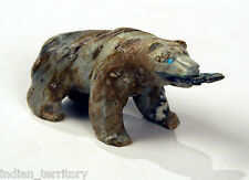 Authentic Zuni Picasso Marble Bear with Fish by Herbert Him