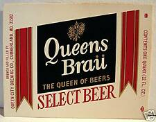 Queens Brau Select Beer Bottle Label Cumberland Md