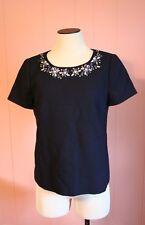 JCrew Collection Jewel-Neck Top Size 2 Navy Wool Shirt Rhinestones 95649 NWT
