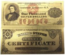USA P314 1000$ THOUSAND US DOLLARS 1878 SILVE CERTIFICATE COLOURED NOTE GOLD