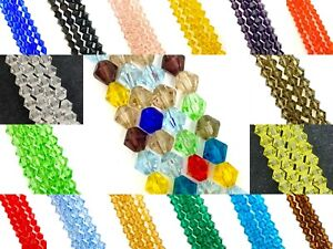 8mm glass crystal faceted bicone beads - approx 40 beads, 12 inch strand