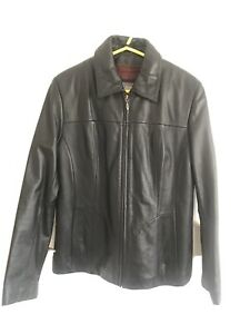 Wilson's Men's Black Leather Jacket Removable Insulate Quilt Inlay Size Small
