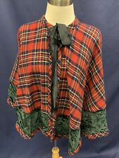 Christmas Plaid Cape Shawl Wrap Theater Caroler Red Green Black Holiday