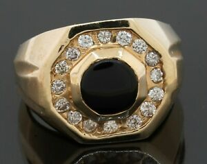 Heavy 14K gold amazing .64CTW diamond/7.2mm onyx men's ring size 10.25
