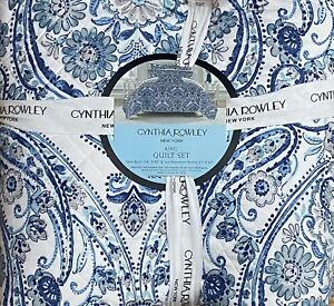 CYNTHIA ROWLEY BLUE MEDALLION PAISLEY KING QUILT SET W/ SHAMS