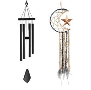Wind Chimes Set Aluminum Memorial Wind Chime with Dream Catcher Outside for...