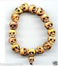 Tibetan Bone Carved Skull Prayer Beads Bracelet