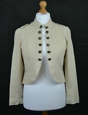 NEW LOOK Size 14 Cream Linen Blend Military Style Fitted Summer Jacket