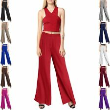 LADIES WIDE PALAZZO TROUSERS WOMENS LONG STRETCHY FLARED BAGGY LEG PANTS 8-18