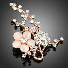 New Fashion Rose Gold Plated Clear Austria Crystal Flower Brooch Pin Women Gift