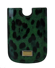 NEW $130 DOLCE & GABBANA Phone Case Green Leopard Pattern Leather Blackberry