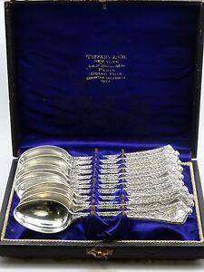 "12 pcs RARE TIFFANY PERSIAN 1872 STERLING TEA SPOON + CASE ~ 4 7/8"" / 189g"
