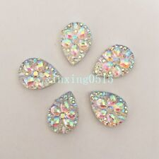 30PCS AB flower Flatback Resin Teardrop Rhinestone Wedding decoration 10mm*14mm