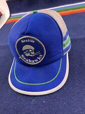 VTG 3 Stripe Patch Seattle Seahawks Mesh Trucker Hat USA Made NFL 70s 80s Rare!