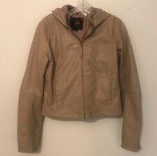 Jack by BB Dakota Hooded Faux Leather Zip Front Tan Jacket Size Medium Like New