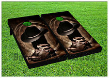 VINYL WRAPS Cornhole Boards DECALS Cowboy Gear BagToss Game Stickers 562