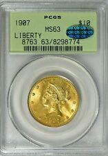 RARE - 1907 - LIBERTY HEAD - $10 GOLD EAGLE - PCGS MS 63 - CAC - OGH - $1,788.88