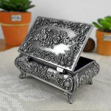 Vintage Flower Antique Carved Metal Trinket Jewelry Box Storage Case Organizer