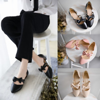 Womens Flat Heels Bow Straps Round Toe Mary Janes Pointed Toe Cute Shoes Party P