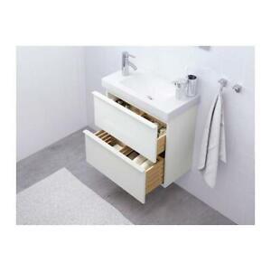 Godmorgon Bathroom Sink Wall Cabinet- 2 Drawer White 603.304.46