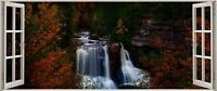 Huge 3D Panoramic Black Water Falls View Stickers Mural 352