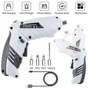 USB Rechargeable Cordless Electric Screwdriver Drill Set Power Tool w/ Led Light