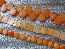 116 Tangerine Orange Mother of Pearl Shell Bead about 10-17mm O3-1