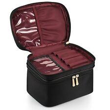 CHICECO Nylon Brush Case Double Layer Travel Makeup Bag  Black w Burgundy Lining
