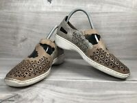 Ladies RIEKER Anti-stress Beige Leather Patterned Sandals Size 5 - VGC - Shoes