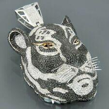2 Carat White & Black Round Cut Diamond Tiger Face Pendant 14K White Gold Over