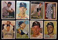 1957 Topps Chicago White Sox Partial Team Break~8 Cards Including Team Card~Fair
