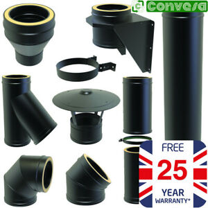 5inch Black Twin Wall Flue Kit Fittings Bends 125mm Convesa Stove Pipe 25 Years