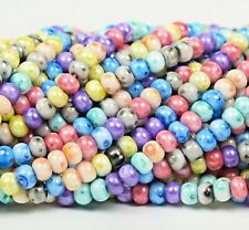 "Czech Glass Seed Beads Size 6/0 Terra Marble Look  "" SPECKLE  MIXTURE "" Strands"