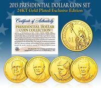 2015 Presidential $1 Dollar 24K GOLD PLATED President 4-Coin Full Set w/Capsules