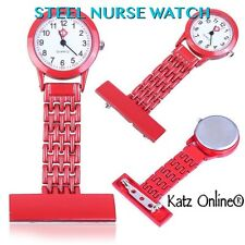 NUOVO Steel INFERMIERA WATCH Medical SPILLA ACCIAIO FOB Orologio Doctor OROLOGIO ACCIAIO ROSSO B3
