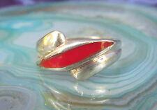 ANELLO CORNIOLA rosso pietra des SEGNO ZODIACALE TORO argento 925 MISURA 17,5 mm