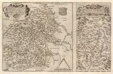 """Sont gionis Biturigum"""" & """"limaniae topographia"""". auvergne/berry. ortelius carte de 1584"""